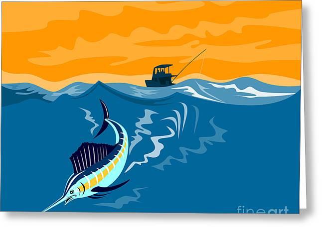 Sailfish fishing boat Greeting Card by Aloysius Patrimonio