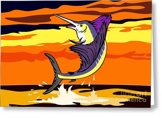 Swordfish Greeting Cards - Sailfish Jumping retro Greeting Card by Aloysius Patrimonio