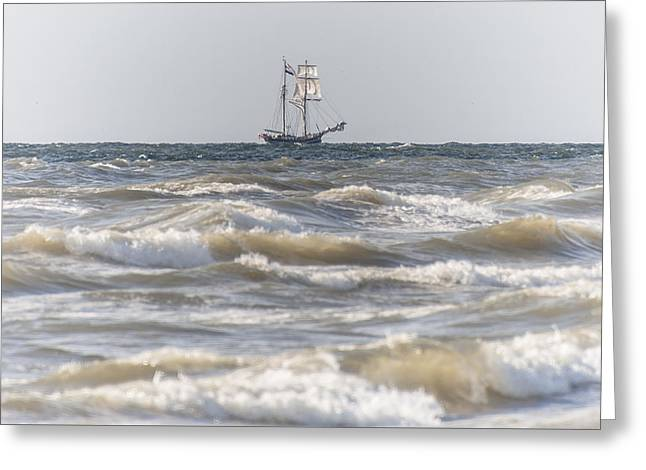 Wooden Ship Greeting Cards - Sailin Home Greeting Card by Alex Hiemstra