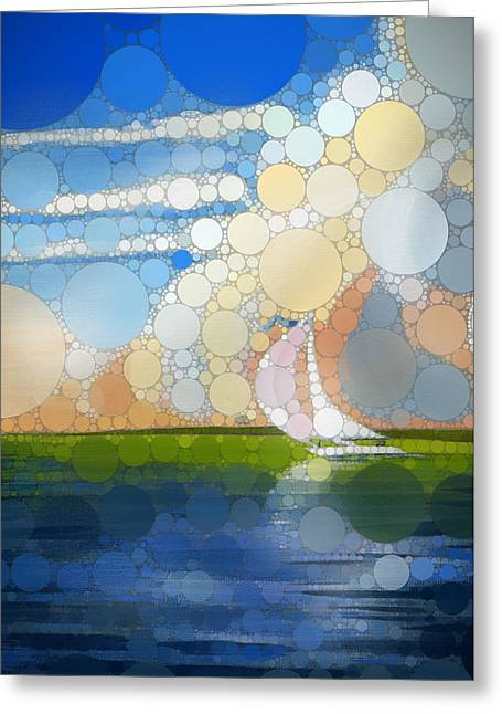 Long Island Sound Greeting Cards - Sailing 1 - percolated Greeting Card by John Deecken