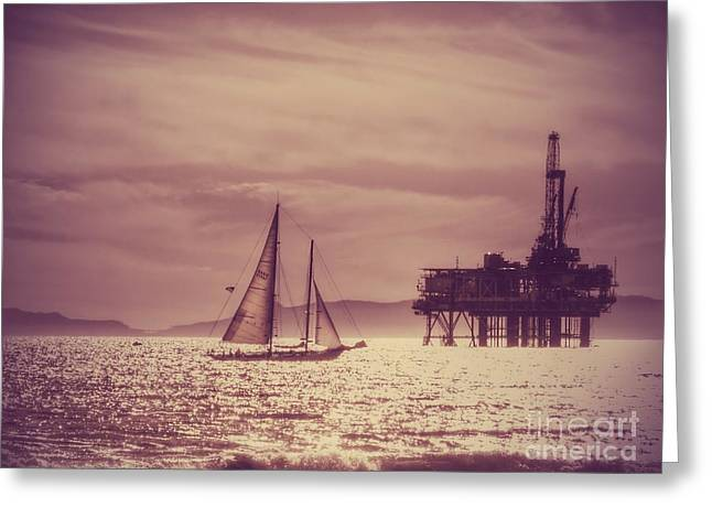California Beaches Greeting Cards - Sailing Across the Golden Sea Greeting Card by Leah McPhail