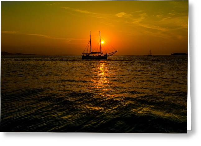 Ocean Sailing Greeting Cards - Sailing Across The Sunset Greeting Card by Chip Evra