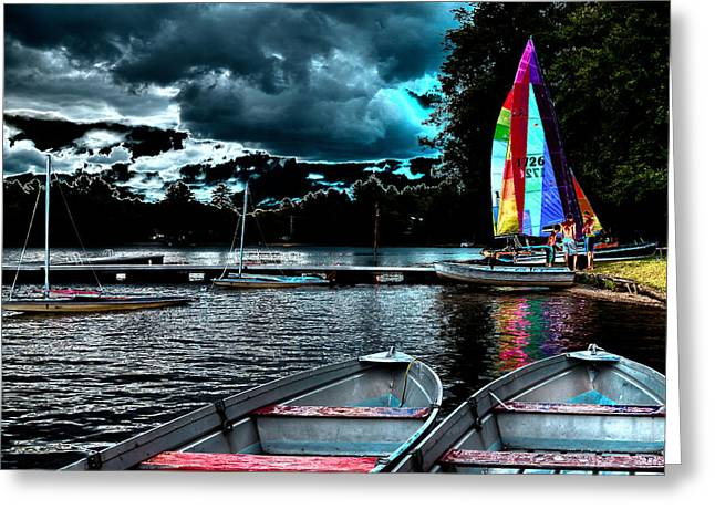 Blue Sailboats Greeting Cards - Sailing After the Storm Greeting Card by David Patterson