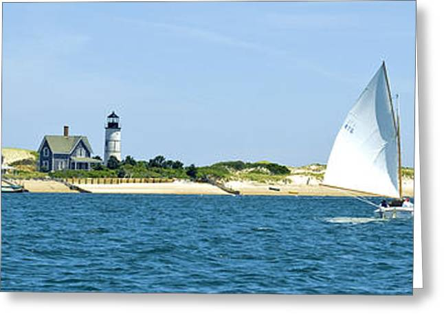 Large Format Greeting Cards - Sailing around Barnstable Harbor Greeting Card by Charles Harden