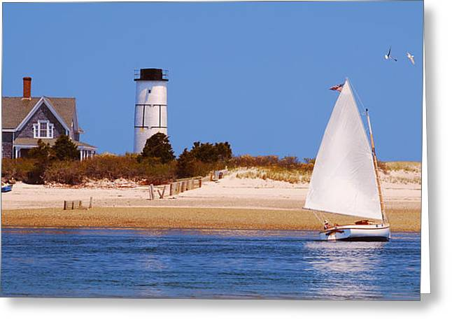Masts Greeting Cards - Sailing Around Sandy Neck Lighthouse Greeting Card by Charles Harden