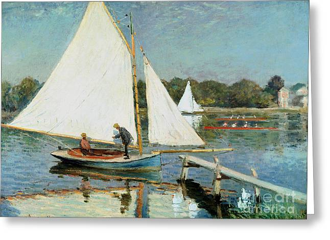 Docked Sailboats Paintings Greeting Cards - Sailing at Argenteuil Greeting Card by Claude Monet