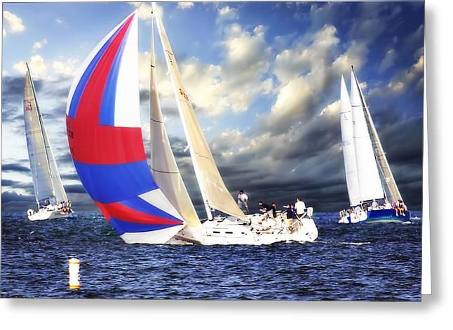 Sailboat Photos Greeting Cards - Sailing at Sunset -2 Greeting Card by Alan Hausenflock