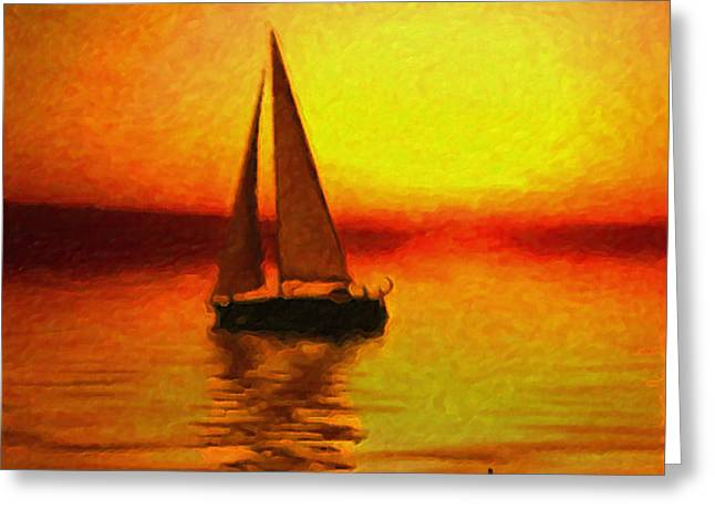 Best Sellers -  - Yellow Sailboats Greeting Cards - Sailing at Sunset Greeting Card by Anthony Caruso