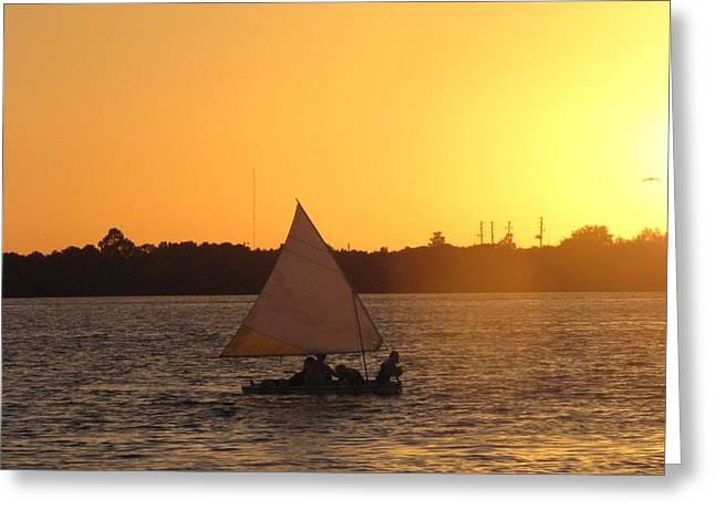 Sailboat Ocean Greeting Cards - Sailing at Sunset Greeting Card by Nancy  Hopkins