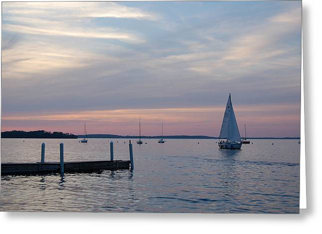 Lake Mendota Greeting Cards - Sailing at the UW - Madison Greeting Card by Lisa Patti Konkol