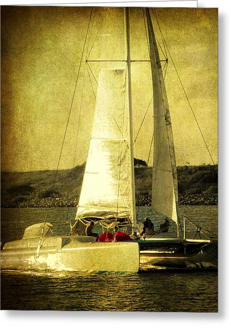 Two Sail Boats Greeting Cards - Sailing away Greeting Card by Susanne Van Hulst