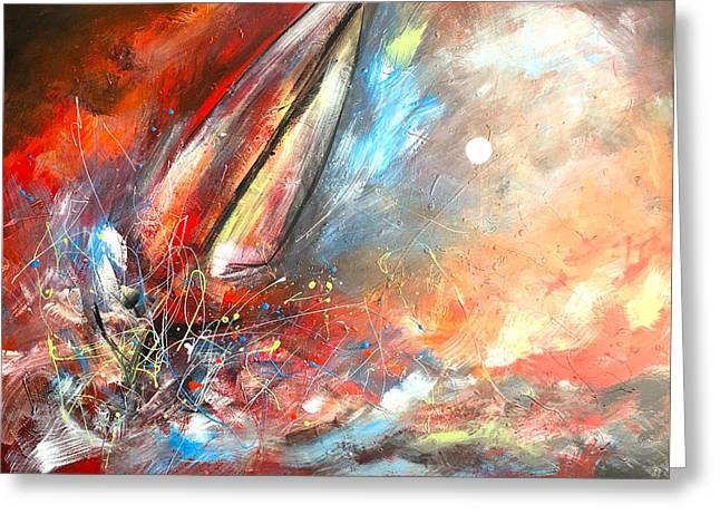 Sailing Beyond The Storm Greeting Card by Vital Germaine