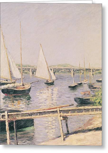 Dinghy Greeting Cards - Sailing boats at Argenteuil Greeting Card by Gustave Caillebotte