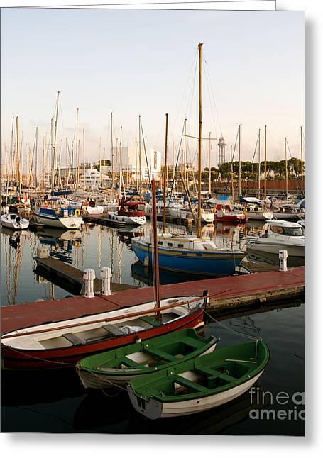 Sailing Boats Barcelona Greeting Card by Louise Fahy