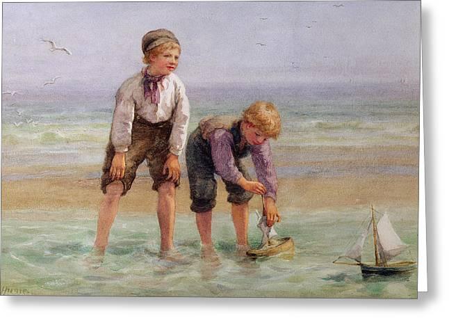 Sailing Boats  Greeting Card by Edith Hume