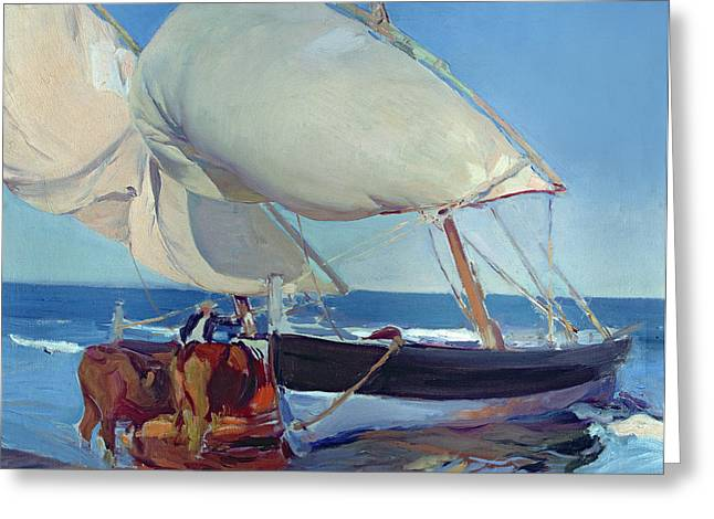 Sailing Boats Greeting Card by Joaquin Sorolla y Bastida
