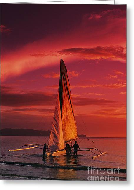 Canoe Waterfall Photographs Greeting Cards - Sailing, Boracay Island Greeting Card by William Waterfall - Printscapes