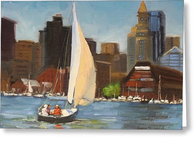 Boston Harbor Greeting Cards - Sailing Boston Harbor Greeting Card by Laura Lee Zanghetti
