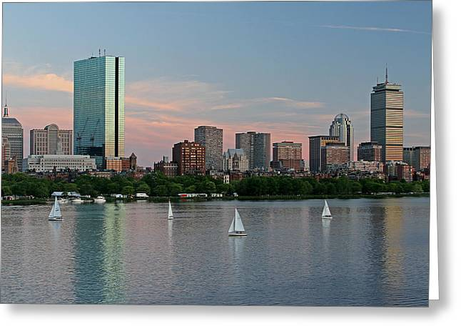Charles River Greeting Cards - Sailing Boston Greeting Card by Juergen Roth