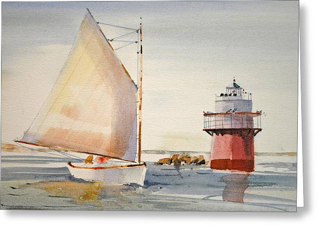 Sailing By Buglight  Greeting Card by P Anthony Visco