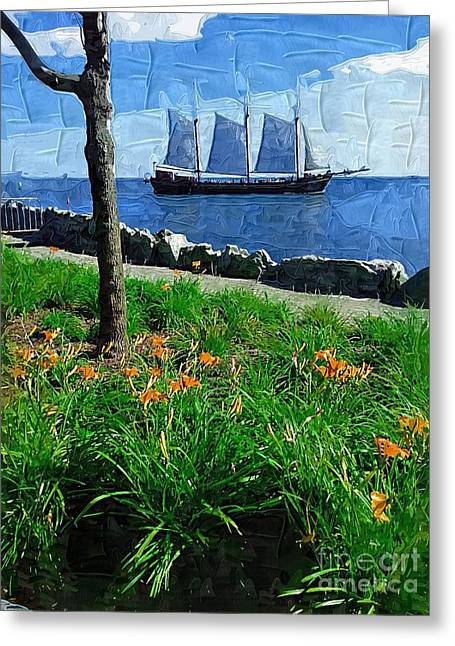 Tall Ship Greeting Cards - Sailing By Greeting Card by Deborah MacQuarrie