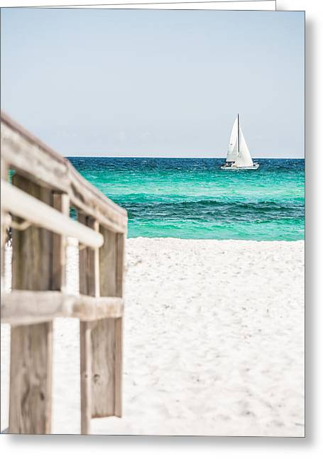 Wooden Stairs Greeting Cards - Sailing By Greeting Card by Shelby  Young