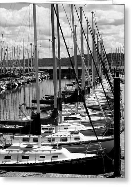 Sailboats Docked Greeting Cards - Sailing Day Greeting Card by Julie Lueders