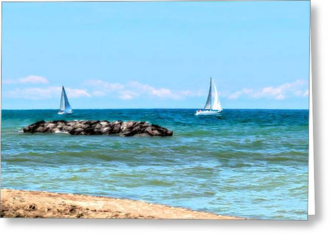 Boats On Water Greeting Cards - Sailing Days on Lake Erie Panorama Greeting Card by Randy Steele