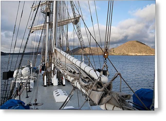 Boat Cruise Greeting Cards - Sailing in Galapagos Greeting Card by MAK Imaging