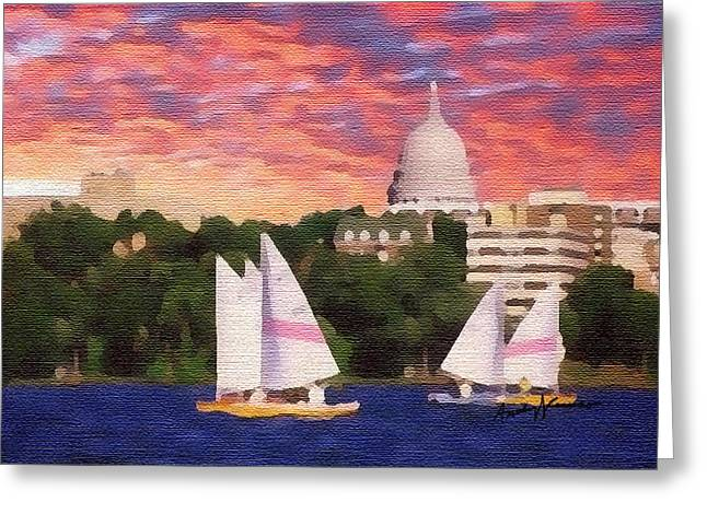 Blue Sailboats Greeting Cards - Sailing in Madison Greeting Card by Anthony Caruso