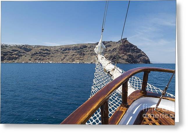 Ocean Sailing Greeting Cards - Sailing in Santorini Greeting Card by Kathy Alsop