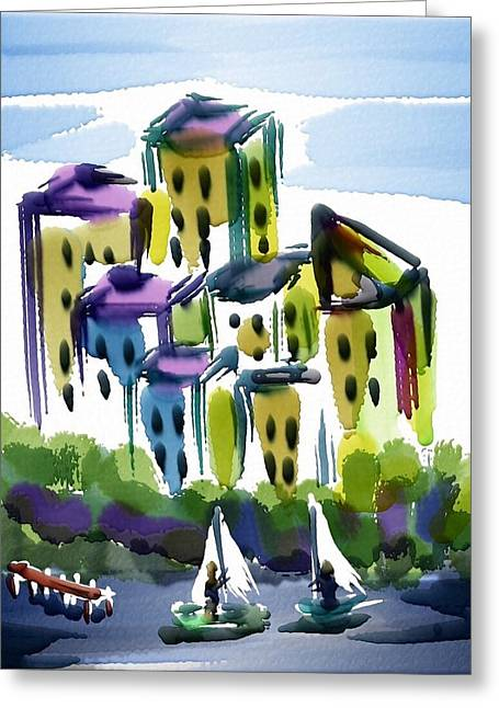 Docked Sailboats Greeting Cards - Sailing In The City Greeting Card by Frank Bright