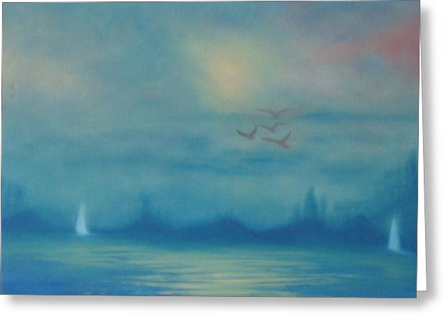 Flying Seagull Greeting Cards - Sailing In The Fog Greeting Card by Fiona Dinali