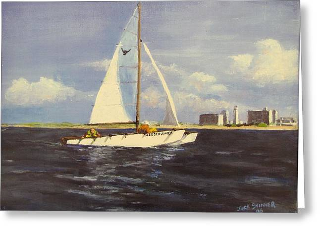 Jack Skinner Paintings Greeting Cards - Sailing in the Netherlands Greeting Card by Jack Skinner