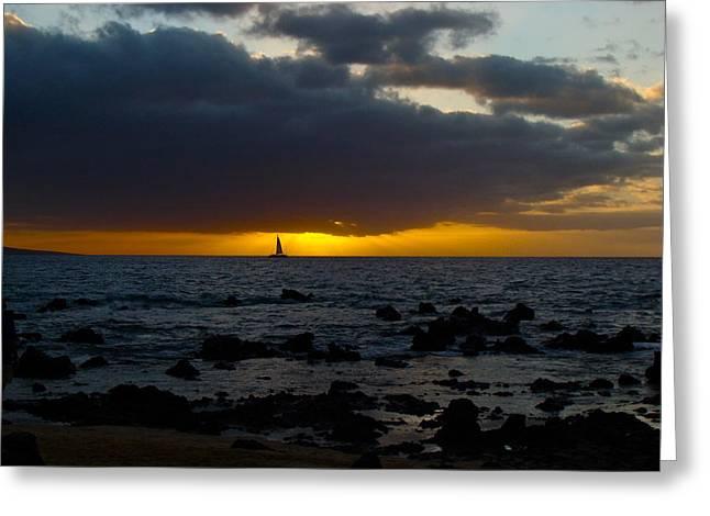 ; Maui Greeting Cards - Sailing into the Sunset Greeting Card by Karon Melillo DeVega