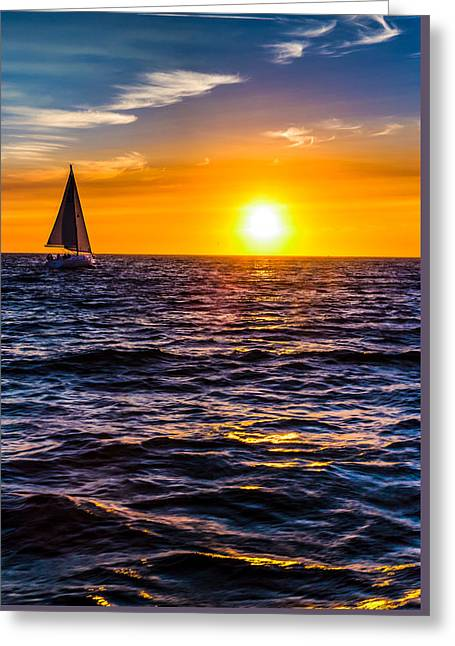 Sailing Into The Sunset Greeting Card by Tommy Farnsworth