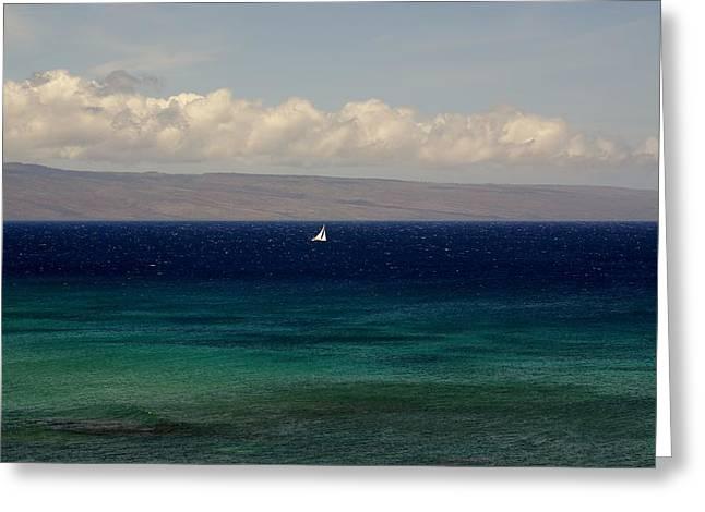 Ocaen Greeting Cards - Sailing Kahana Greeting Card by Louie Hooper