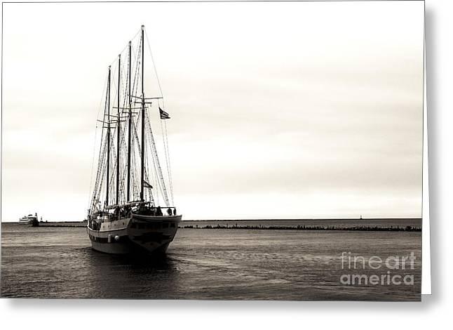 Midwest Artist Greeting Cards - Sailing Lake Michigan Greeting Card by John Rizzuto