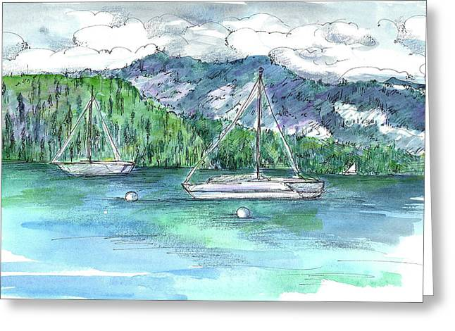 Sailing Lake Tahoe Greeting Card by Cathie Richardson