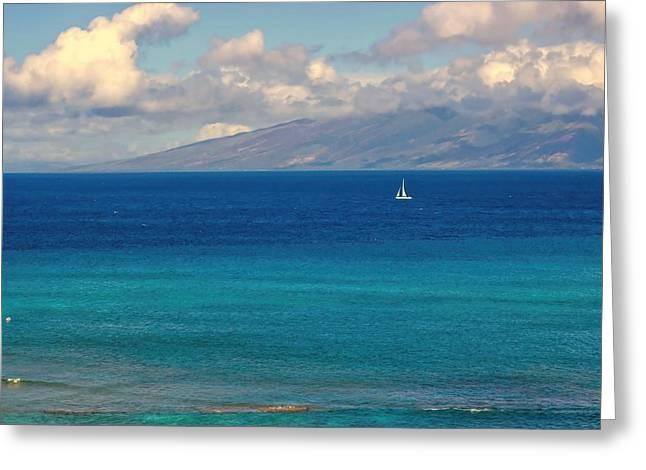 Lahaina Greeting Cards - Sailing Maui Greeting Card by Kathy Bassett