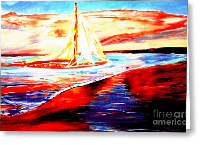 Beaches In Monterey Greeting Cards - Sailing Monterey Greeting Card by Stanley Morganstein