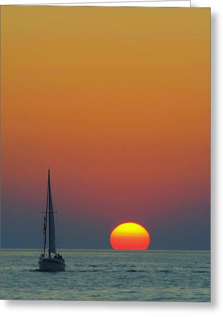 Sailing Boat Greeting Cards - Sailing off into the Sunset Greeting Card by Frozen in Time Fine Art Photography