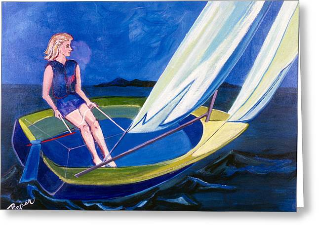 My Ocean Greeting Cards - Sailing Off Nantucket Greeting Card by Betty Pieper