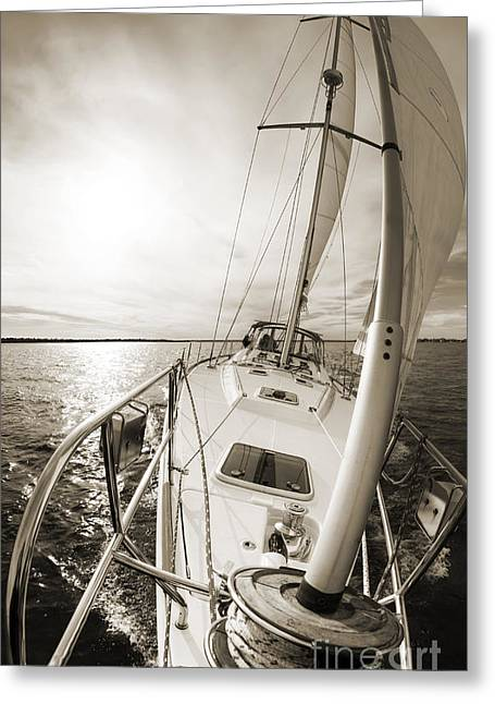 Sailing Photographs Greeting Cards - Sailing on a Beneteau 49 Sailboat Greeting Card by Dustin K Ryan