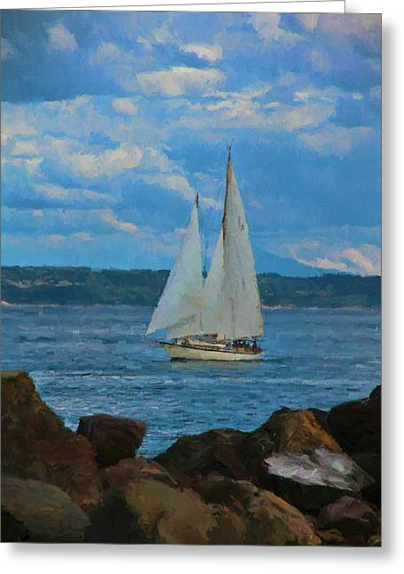 Sailing On A Summer Day Greeting Card by Dan Sproul