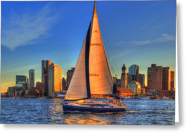 Sailboats In Harbor Greeting Cards - Sailing on Boston Harbor Greeting Card by Joann Vitali