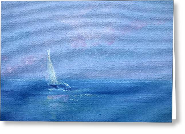 New England Ocean Greeting Cards - Sailing On The Coast Of Maine Greeting Card by Lisa Ridabock