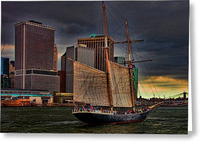 Sailing On The East River Greeting Card by Chris Lord