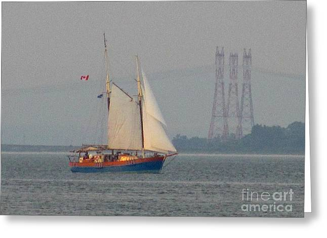 Famous Bridge Greeting Cards - Sailing on the St. Lawrence River Greeting Card by Crystal Loppie