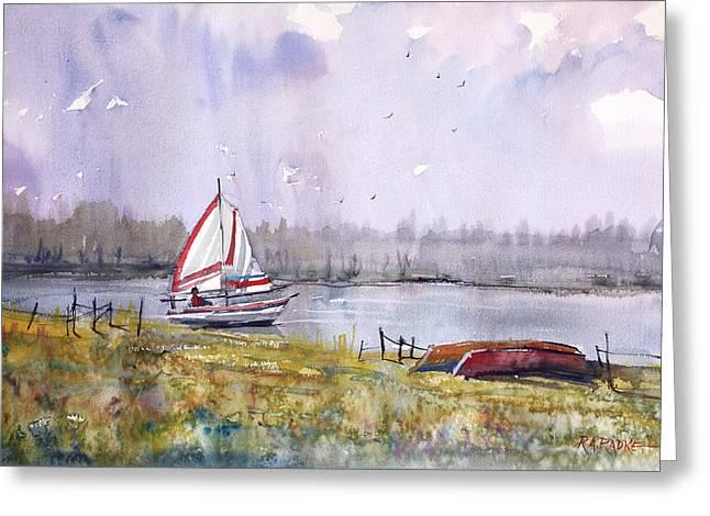 North Woods Greeting Cards - Sailing on White Sand Lake Greeting Card by Ryan Radke